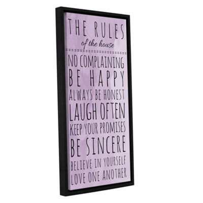 Brushstone Purple Family Rules Gallery Wrapped Floater-Framed Canvas Wall Art