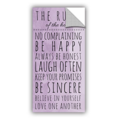 Brushstone Purple Family Rules Removable Wall Decal