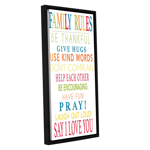 Brushstone Family Rules Gallery Wrapped Floater-Framed Canvas Wall Art