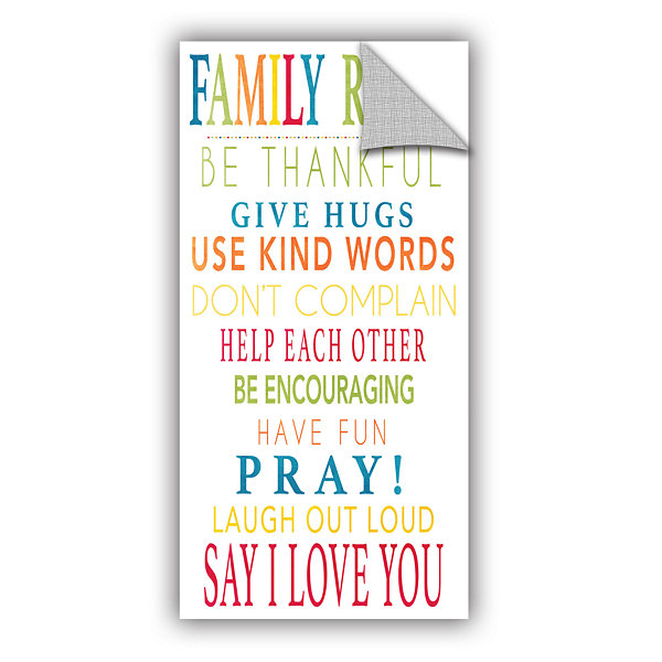 Brushstone Family Rules Removable Wall Decal