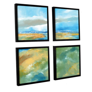 Brushstone A Blustry Day Near Salthouse 4-pc. Square Floater Framed Canvas Wall Art