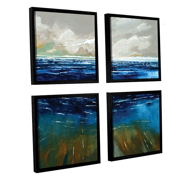 Brushstone Beach And Sea 4-pc. Square Floater Framed Canvas Wall Art