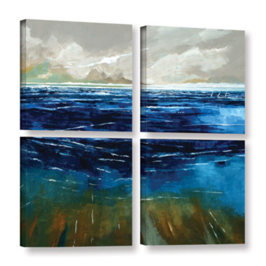 Brushstone Beach And Sea 4-pc. Square Gallery Wrapped Canvas Wall Art