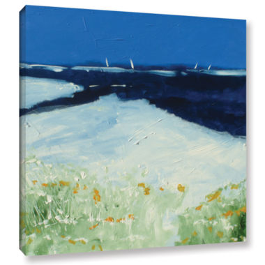 Brushstone Beach With Flowers Gallery Wrapped Canvas Wall Art