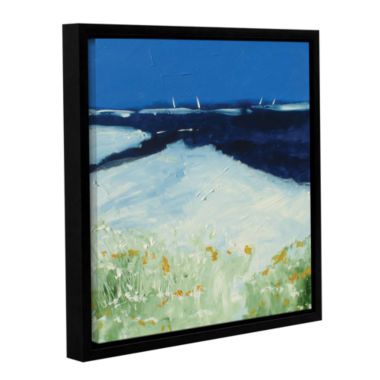 Brushstone Beach With Flowers Gallery Wrapped Floater-Framed Canvas Wall Art