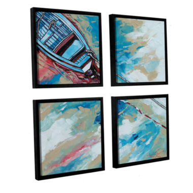 Brushstone Boat And Rope 4-pc. Square Floater Framed Canvas Wall Art