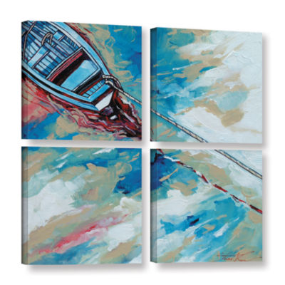 Brushstone Boat And Rope 4-pc. Square Gallery Wrapped Canvas Wall Art