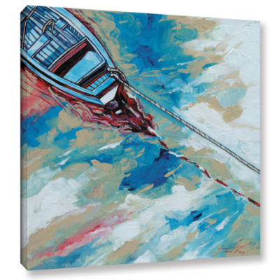 Brushstone Boat And Rope Gallery Wrapped Canvas Wall Art
