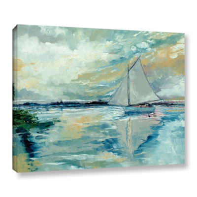 Brushstone Boat On Broads Gallery Wrapped Canvas Wall Art