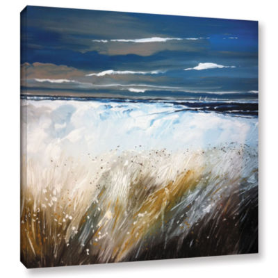 Brushstone Ferns And Beach Gallery Wrapped CanvasWall Art