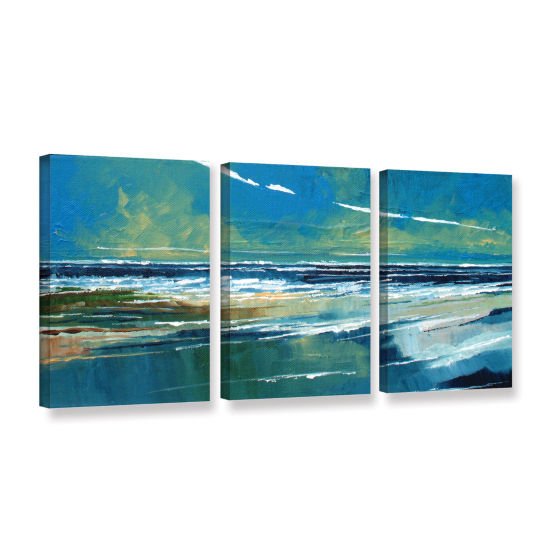 Brushstone Rectangular Sea View I 3-pc. Gallery Wrapped Canvas Wall Art