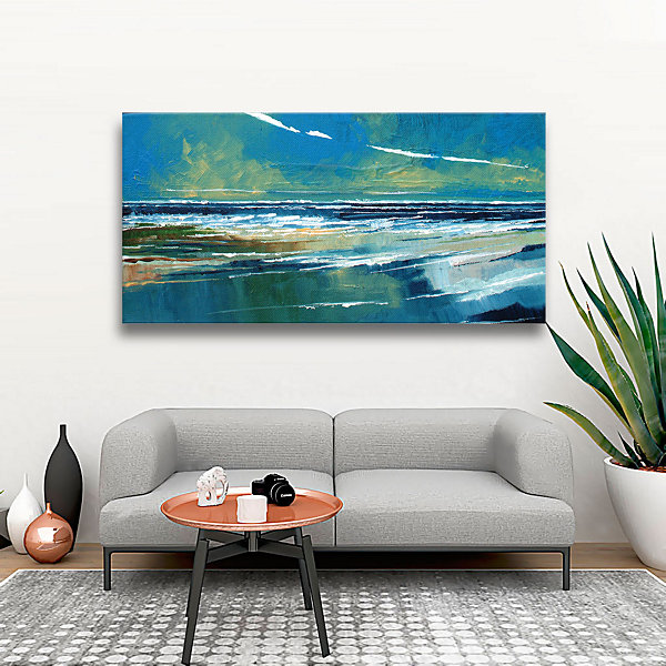 Brushstone Rectangular Sea View I Gallery WrappedCanvas Wall Art