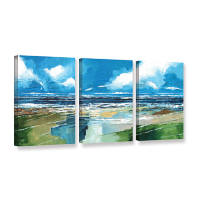 Brushstone Rectangular Sea View II 3-pc. Gallery Wrapped Canvas Wall Art