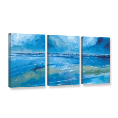 Brushstone Rectangular Seascape II 3-pc. Gallery Wrapped Canvas Wall Art