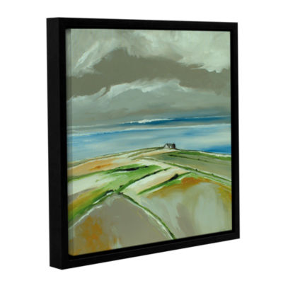 Brushstone Sea And Houses Gallery Wrapped Floater-Framed Canvas Wall Art