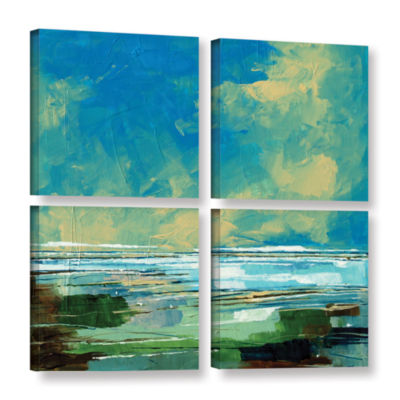 Brushstone Sea View II 4-pc. Square Gallery Wrapped Canvas Wall Art