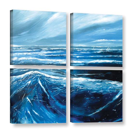 Brushstone Sea View III 4-pc. Square Gallery Wrapped Canvas Wall Art
