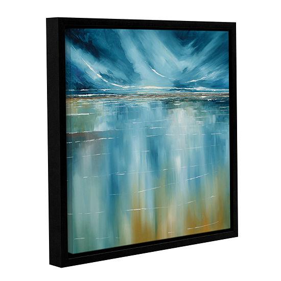 Brushstone Seascape Gallery Wrapped Floater-FramedCanvas Wall Art
