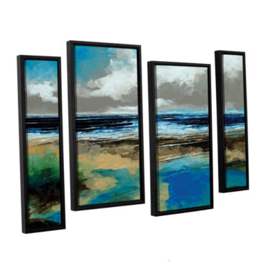 Brushstone Seascape I 4-pc. Floater Framed Staggered Canvas Wall Art