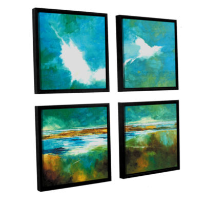 Brushstone Seascape II 4-pc. Square Floater FramedCanvas Wall Art