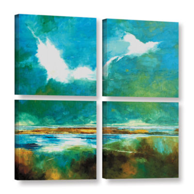 Brushstone Seascape II 4-pc. Square Gallery Wrapped Canvas Wall Art