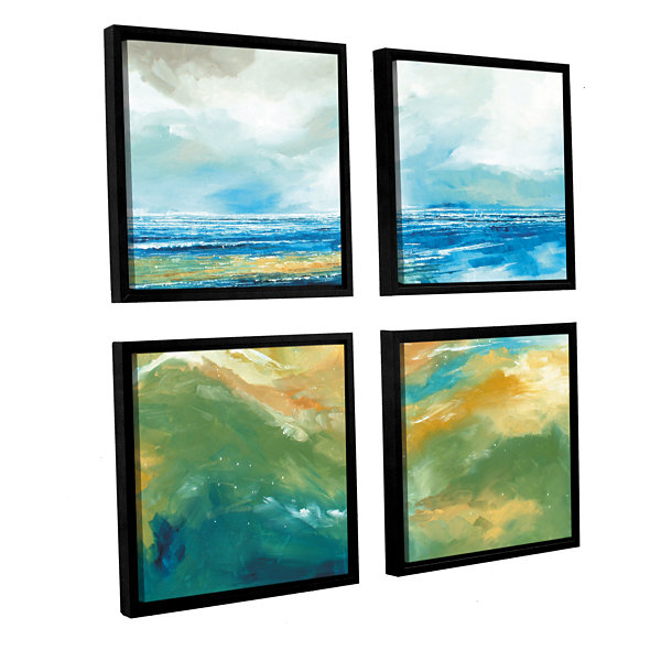 Brushstone Seascape III 4-pc. Square Floater Framed Canvas Wall Art