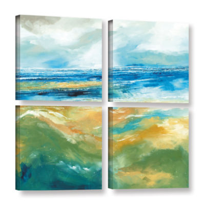 Brushstone Seascape III 4-pc. Square Gallery Wrapped Canvas Wall Art