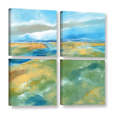 Brushstone Seascape IV 4-pc. Square Gallery Wrapped Canvas Wall Art