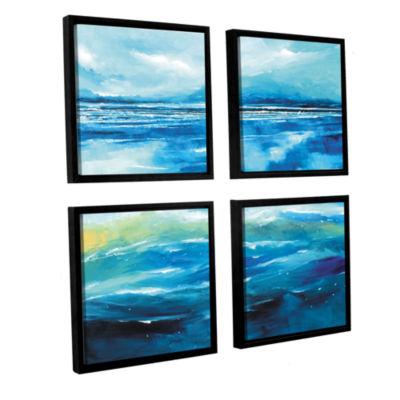 Brushstone Seascape V 4-pc. Square Floater FramedCanvas Wall Art