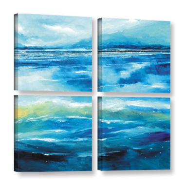 Brushstone Seascape V 4-pc. Square Gallery WrappedCanvas Wall Art