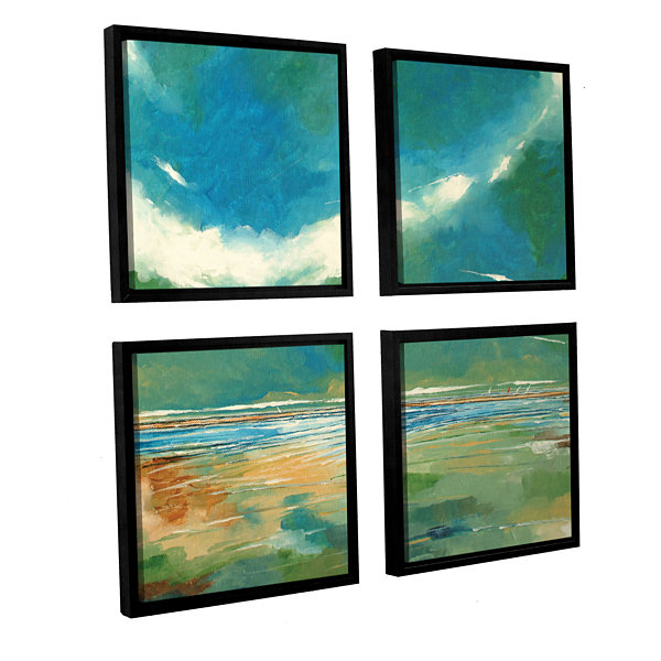 Brushstone Seaview I 4-pc. Square Floater Framed Canvas Wall Art