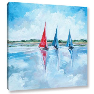 Brushstone Three Boats I Gallery Wrapped Canvas Wall Art