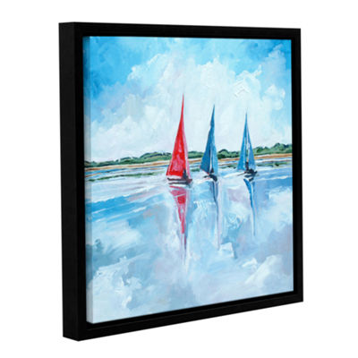 Brushstone Three Boats I Gallery Wrapped Floater-Framed Canvas Wall Art