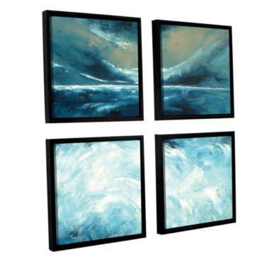 Brushstone Winter Norfolk Sea 4-pc. Square FloaterFramed Canvas Wall Art