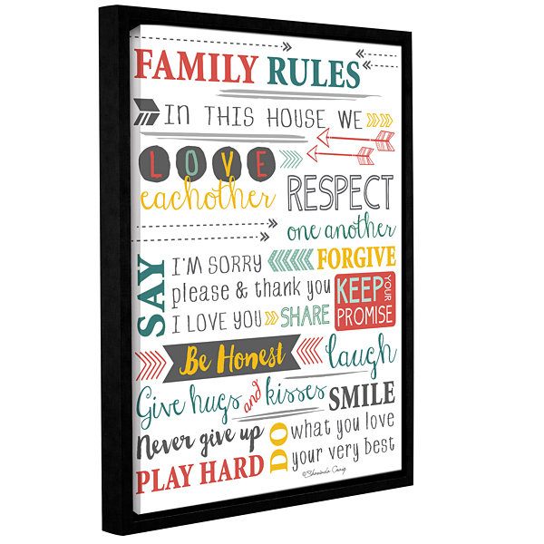 Brushstone Family Rules-Art Gallery Wrapped Floater-Framed Canvas Wall Art