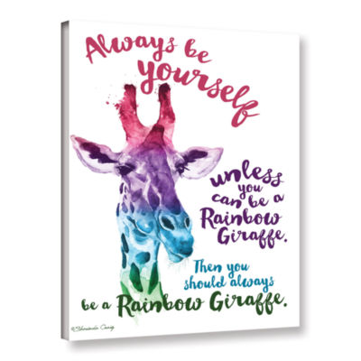 Brushstone Rainbow Giraffe Gallery Wrapped CanvasWall Art