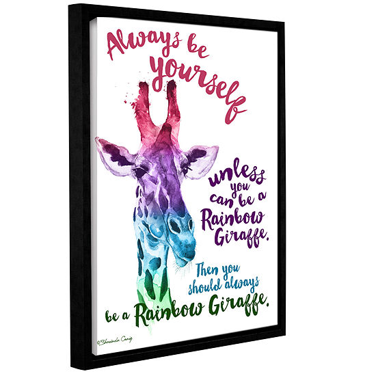 Brushstone Rainbow Giraffe Gallery Wrapped Floater-Framed Canvas Wall Art