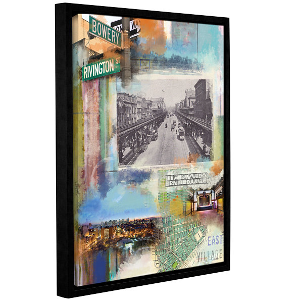 Brushstone Bowery Collage Gallery Wrapped Floater-Framed Canvas Wall Art