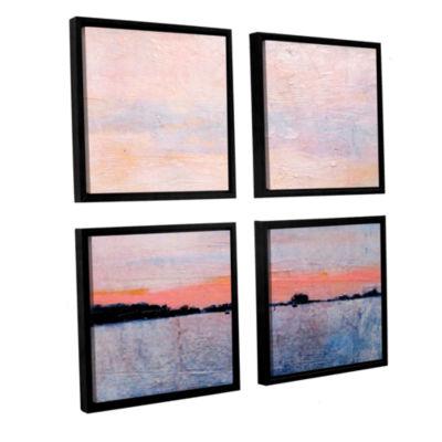 Brushstone Landscape Study VIII 4-pc. Floater Framed Canvas Sqare Set