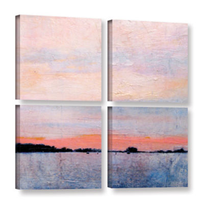 Brushstone Landscape Study VIII 4-pc. Gallery Wrapped Canvas Square Set