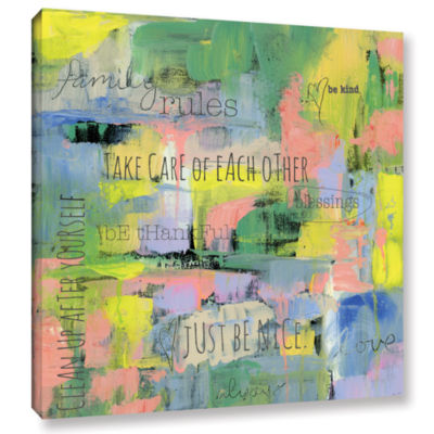 Brushstone Abstract Family Rules Gallery Wrapped Canvas Wall Art