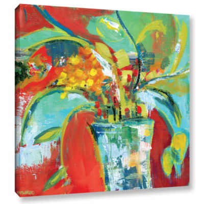 Brushstone Abstract Floral Red Aqua 1 Gallery Wrapped Canvas Wall Art