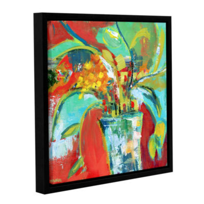 Brushstone Abstract Floral Red Aqua 1 Gallery Wrapped Floater-Framed Canvas Wall Art
