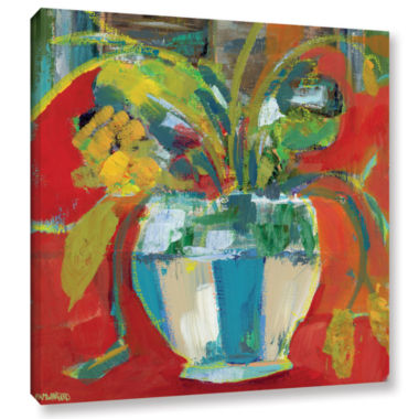 Brushstone Abstract Floral Red Aqua 2 Gallery Wrapped Canvas Wall Art
