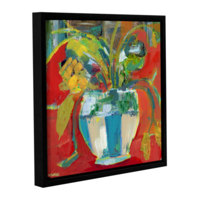Brushstone Abstract Floral Red Aqua 2 Gallery Wrapped Floater-Framed Canvas Wall Art