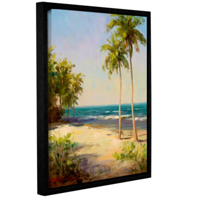 Brushstone Palms On The Beach II Gallery Wrapped Floater-Framed Canvas Wall Art