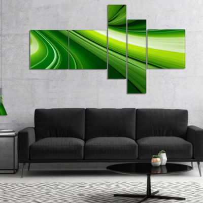 Designart Abstract Green Lines Background Multipanel Abstract Canvas Art Print - 5 Panels