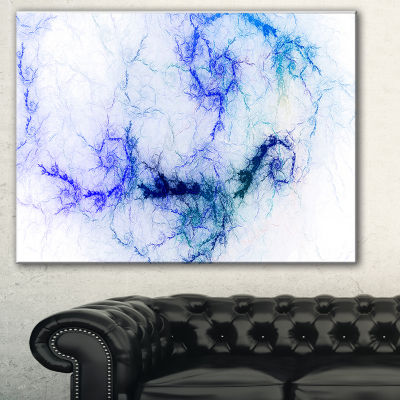 Designart Sparkling Blue Stormy Sky Abstract Canvas Art Print - 3 Panels
