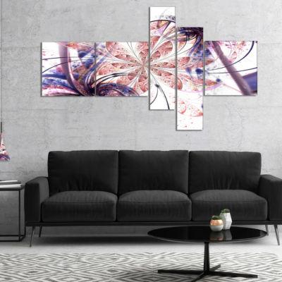 Design Art Blue Pink Fractal Flower Pattern Multipanel Abstract Wall Art Canvas - 5 Panels