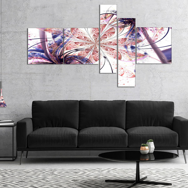 Designart Blue Pink Fractal Flower Pattern Multipanel Abstract Wall Art Canvas - 5 Panels